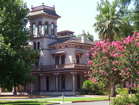 PHoto showing Bidwell Mansion in down town chico California.